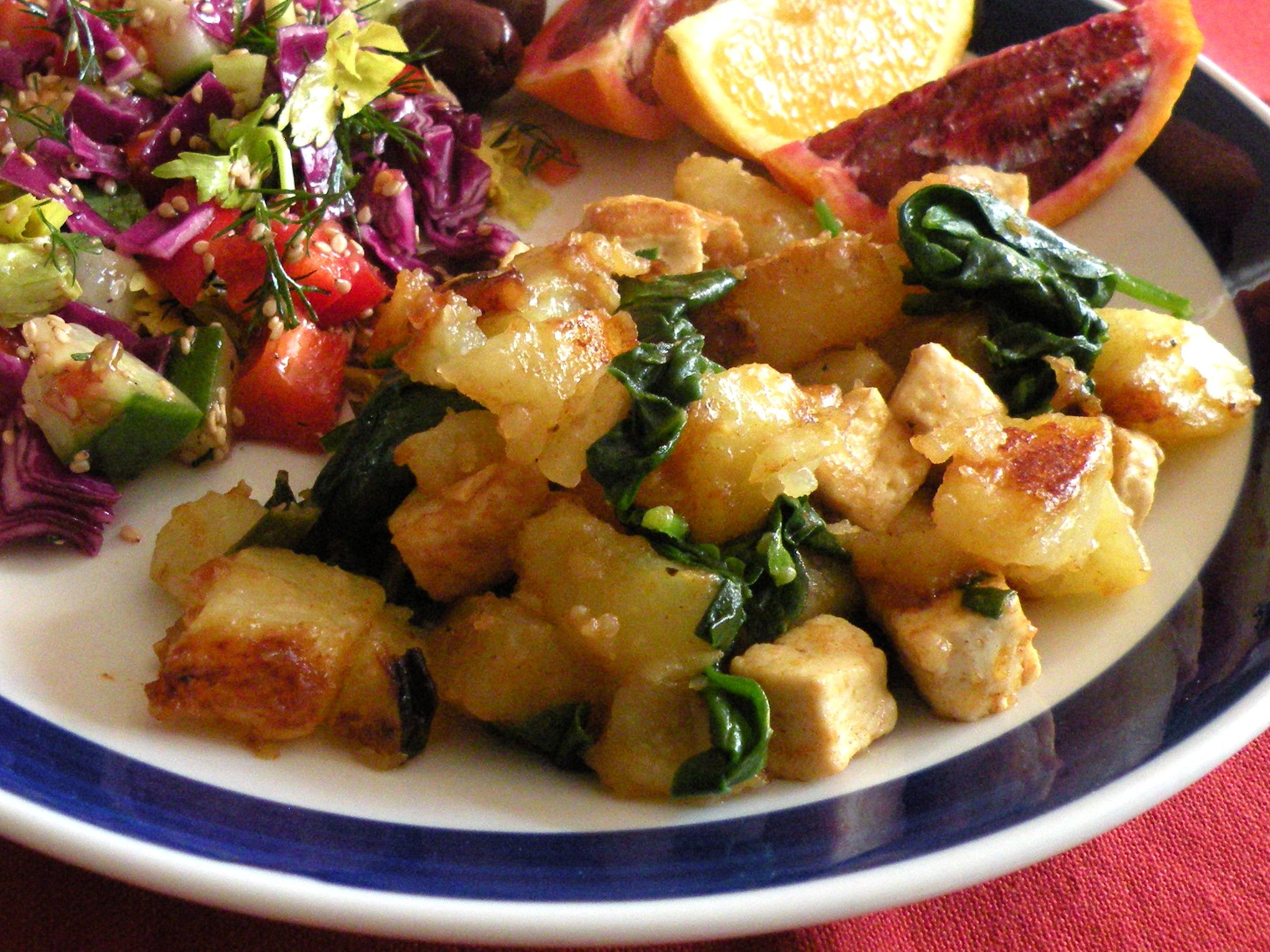 tofu and potato hash browns