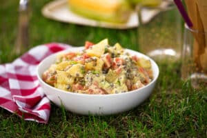 Curried Potato Salad with Lentils and Tomatoes