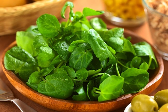Watercress in bowl