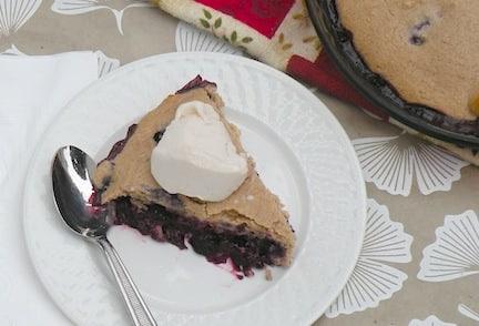 Vegan blueberry cobbler slice on a plate