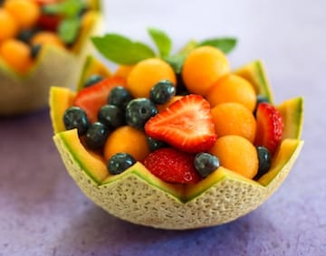 melon cups - cantaloupe, strawberries, and blueberries