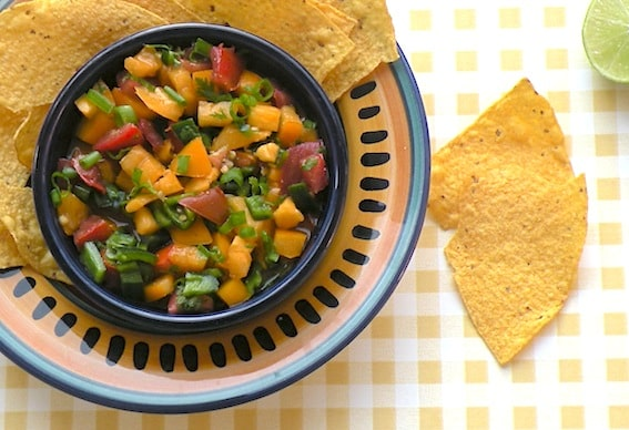 Fresh tomato salsa with stone-ground tortilla chips
