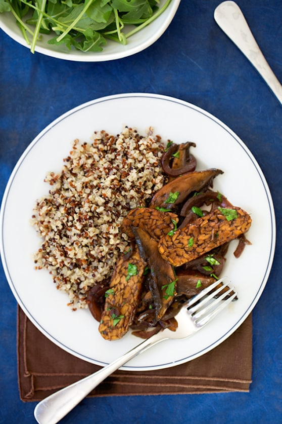 Tangy Tempeh with Portobello Mushrooms top view served on a plate