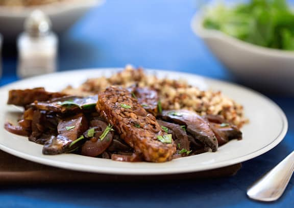 Tangy Tempeh with Portobello Mushrooms side view served on a plate