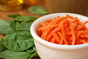 Shredded carrots and baby spinach