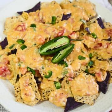 Vegan Nachos with Chile con queso