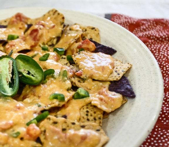 Vegan Nachos with Chile con queso recipe