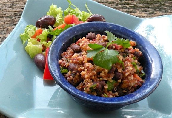 Salsa grain and bean pilaf with quinoa
