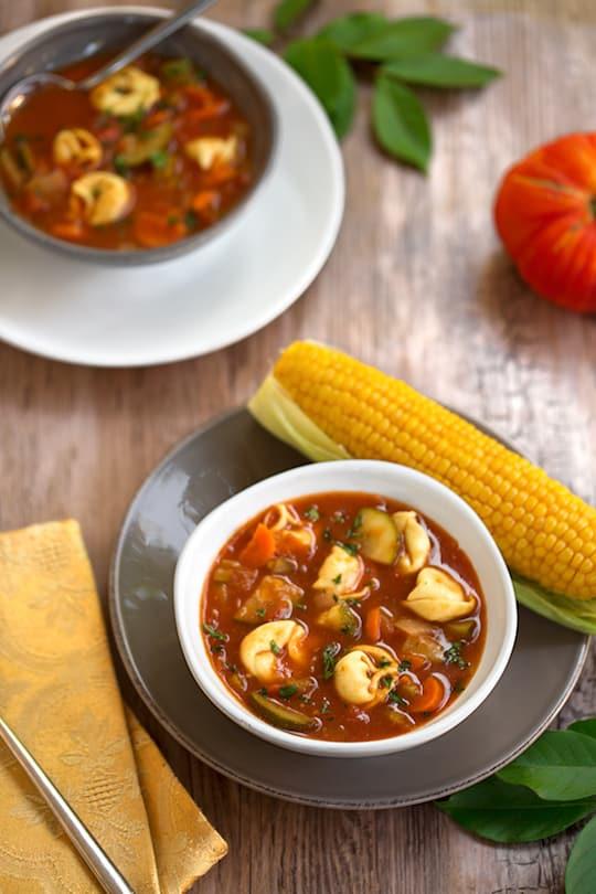 Fresh tomato soup with tortellini or ravioli recipe