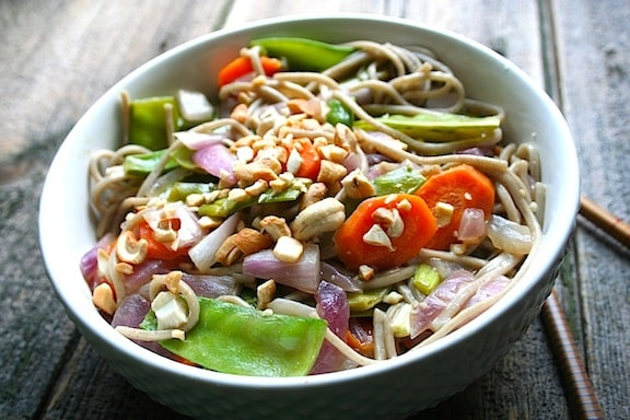 Soba noodles with snow peas