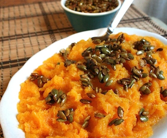 Butternut Squash Puree with Candied Pumpkin Seeds