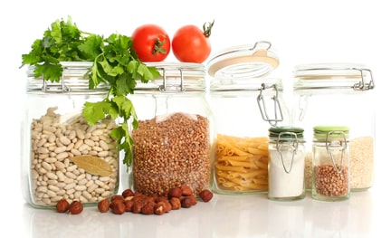 healthy pantry foods in jars