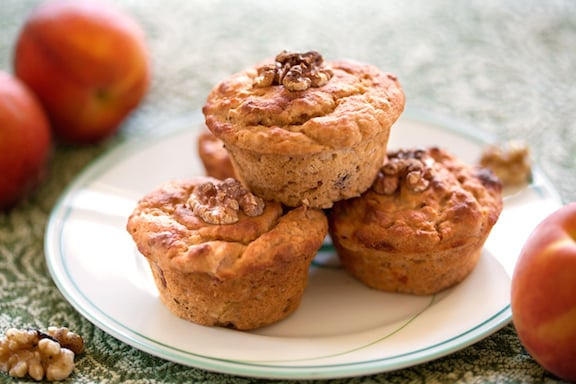 Gingery Peach or Nectarine muffins - vegan