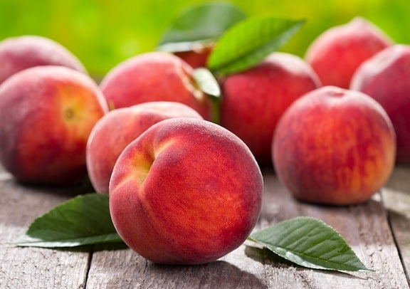Peaches on table