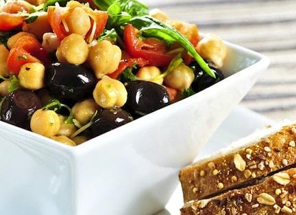 Chickpea tomato olive salad detail
