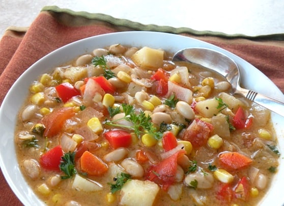 White bean and corn soup with red peppers recipe