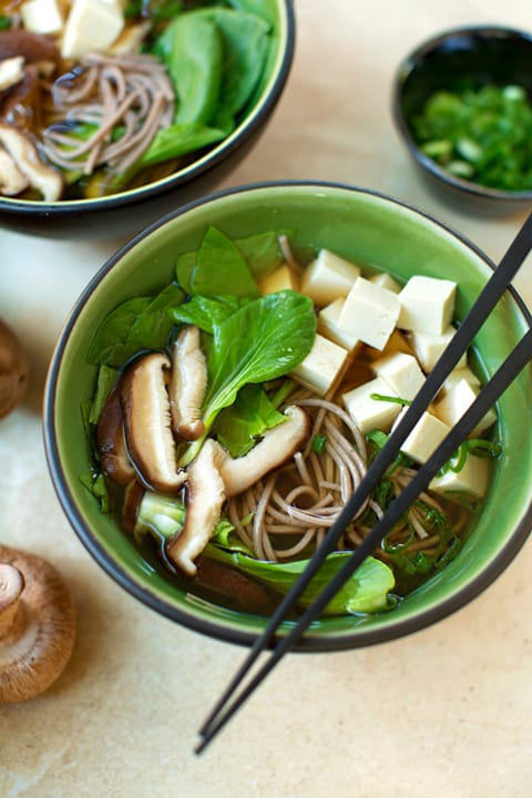 Soba (Buckwheat) Noodle Soup with Tofu & Greens