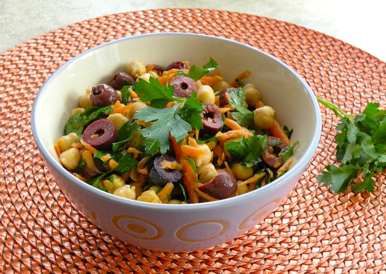 Chickpea, carrot, and parsley salad
