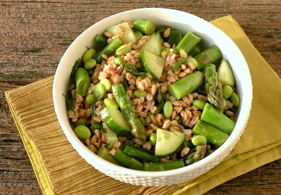 Barley or Farro and Asparagus salad
