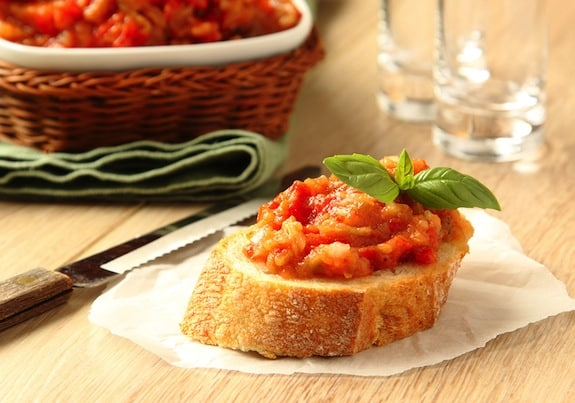 Bruschetta with Eggplant and tomtato spread