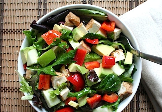 mixed greens, avocado, apple, and tofu salad recipe