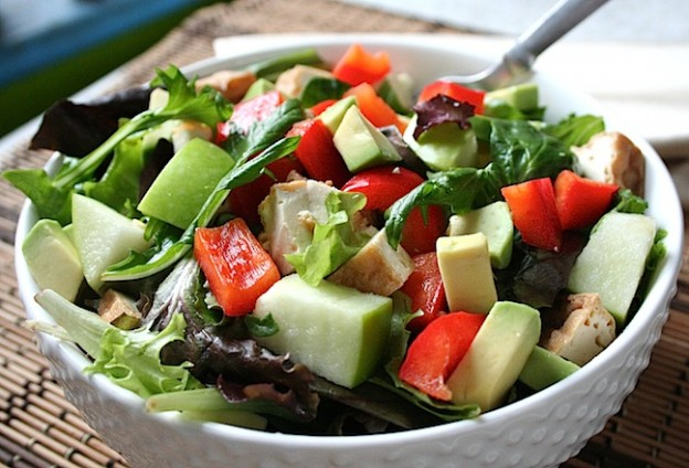 mixed greens, avocado, apple, and tofu salad