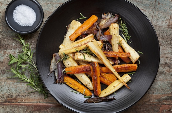 Roasted root vegetable medley - carrots, turnips, beets, parsnips