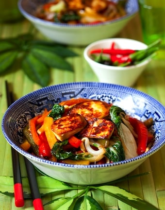Tofu and bok choy stir-fry