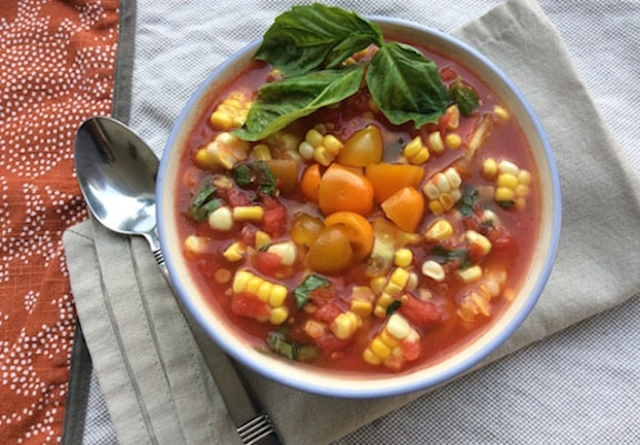 Fresh tomato and corn soup1