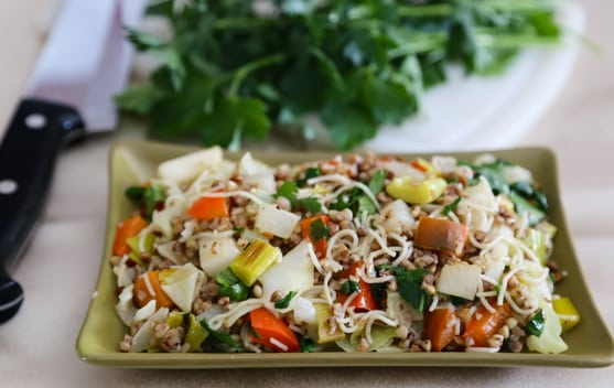 Kasha with Noodles and Veggies recipe