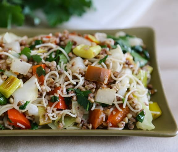 Kasha (Buckwheat Groats) with Noodles and Veggies