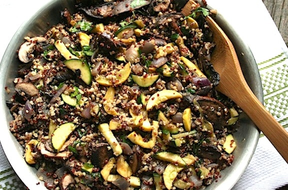 Quinoa Pilaf with mushrooms and squashes