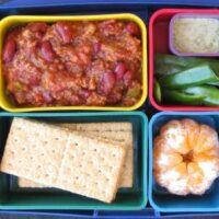 vegetarian chili bento box lunch