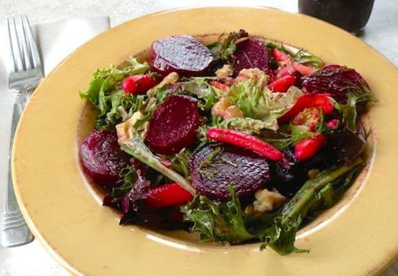 Mixed greens with marinated beets and walnuts - salad