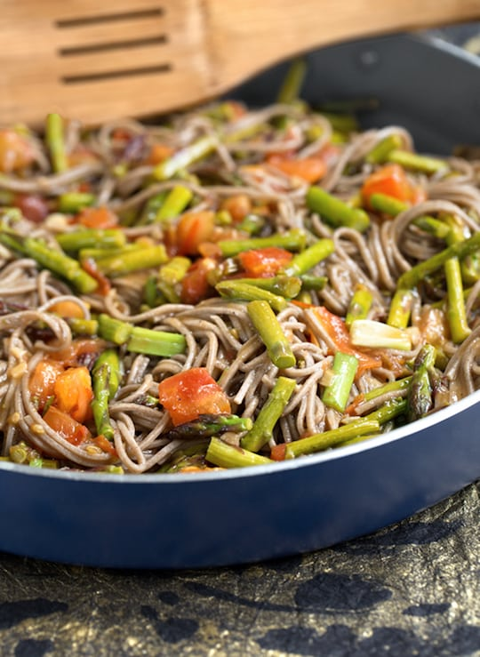 Sweet-and-Sour Soba (buckwheat) Noodles with Asparagus