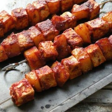 Oven-barbecued tofu and potato skewers