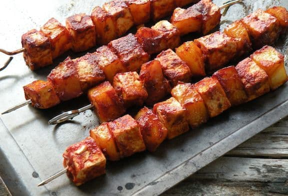 Oven Barbecued Tofu And Potato Skewers Vegkitchen Com