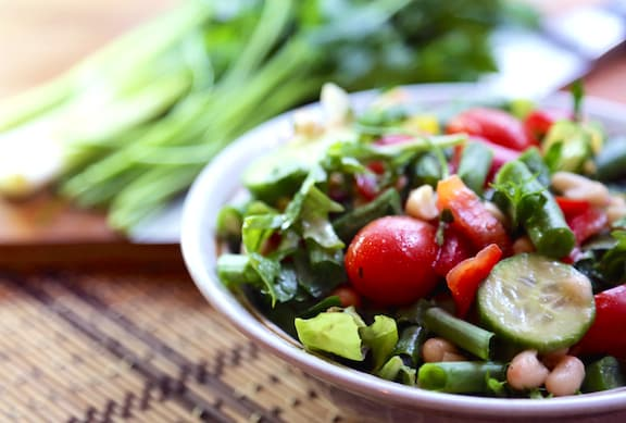 Navy Bean and Green Bean Salad with fresh herbs