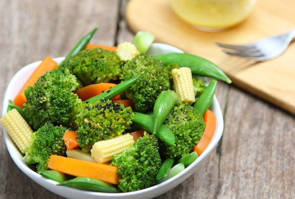 Broccoli, snow peas, and baby corn stir-fry