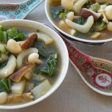 Mixed mushrooms and bok choy soup recipe
