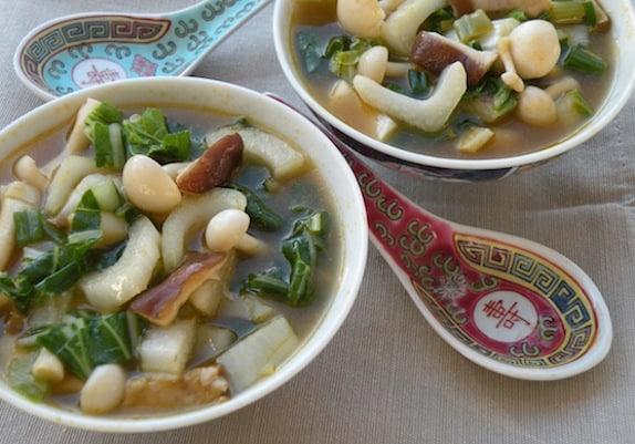 Mixed mushrooms and bok choy soup recipe