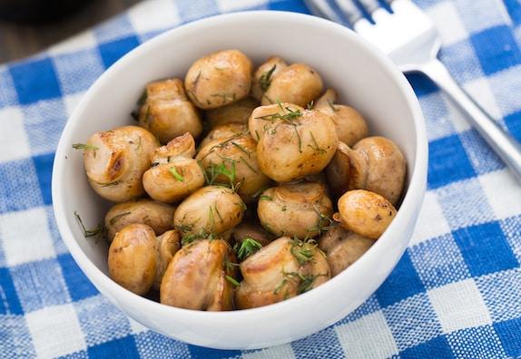 Broiled Lemon-garlic mushrooms