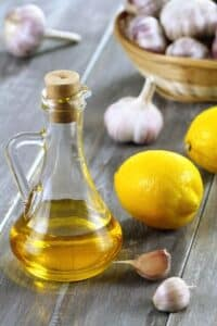 olive oil, lemons, and garlic