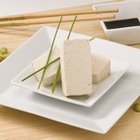 plain tofu on a plate