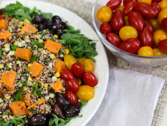 Composed Quinoa, Sweet Potato, and Corn Salad
