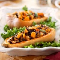 Stuffed butternut squash with whole wheat and wild rice