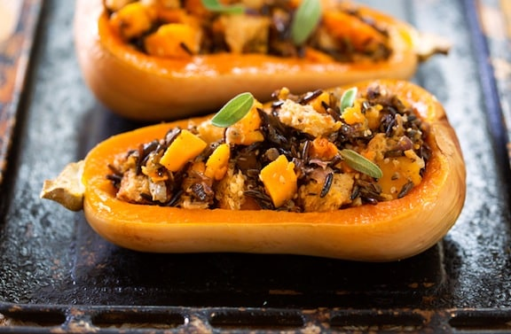 Whole wheat and wild rice-stuffed butternut recipe