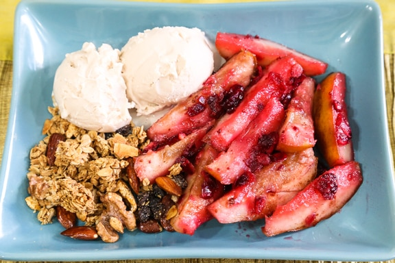 Maple Baked Pears with Fresh Cranberries