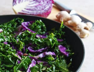 kale and red cabbage stir-fry