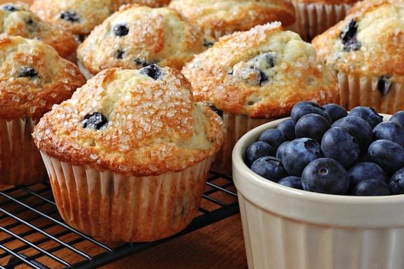 Vegan Lemony Blueberry Muffins